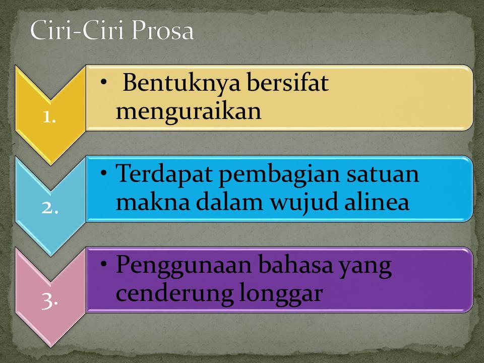 1. Bentuknya bersifat menguraikan 2. Terdapat pembagian satuan makna dalam wujud alinea 3. Penggunaan bahasa yang cenderung longgar