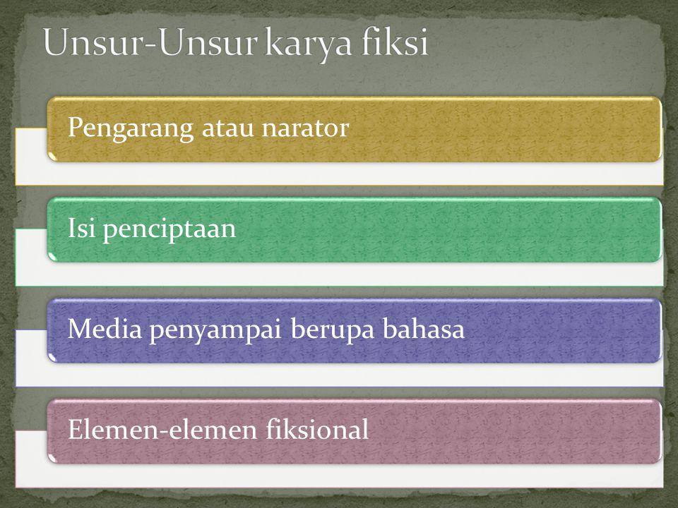 Pengarang atau naratorIsi penciptaanMedia penyampai berupa bahasaElemen-elemen fiksional
