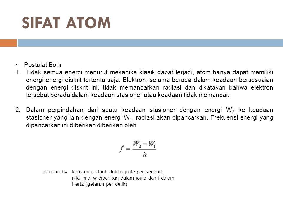 SIFAT ATOM Postulat Bohr 1.Tidak semua energi menurut mekanika klasik dapat terjadi, atom hanya dapat memiliki energi-energi diskrit tertentu saja.