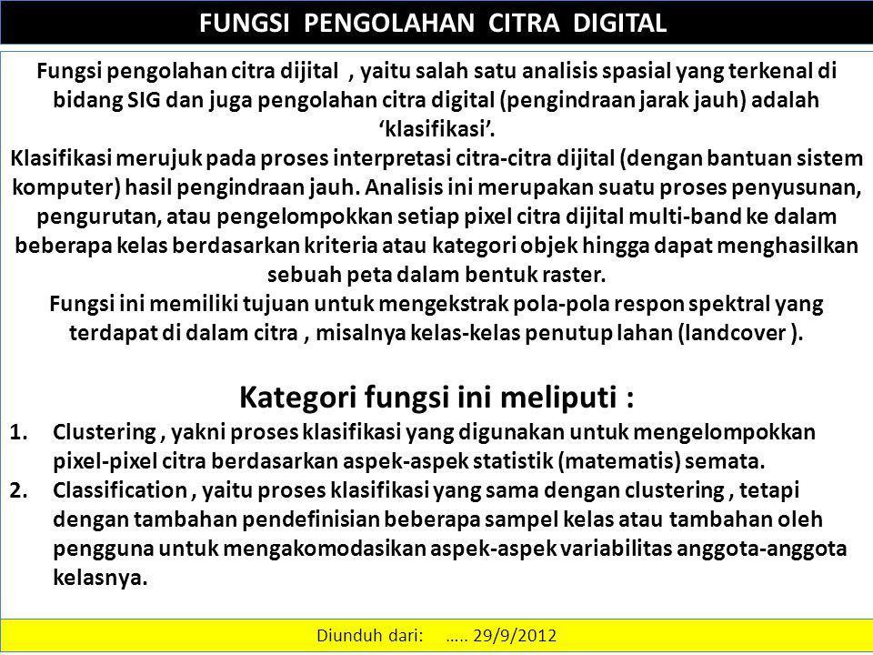 FUNGSI PENGOLAHAN CITRA DIGITAL Fungsi pengolahan citra dijital, yaitu salah satu analisis spasial yang terkenal di bidang SIG dan juga pengolahan cit