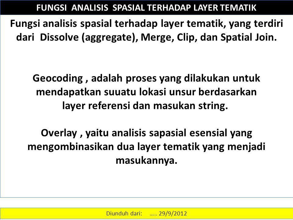 FUNGSI ANALISIS SPASIAL TERHADAP LAYER TEMATIK Fungsi analisis spasial terhadap layer tematik, yang terdiri dari Dissolve (aggregate), Merge, Clip, da
