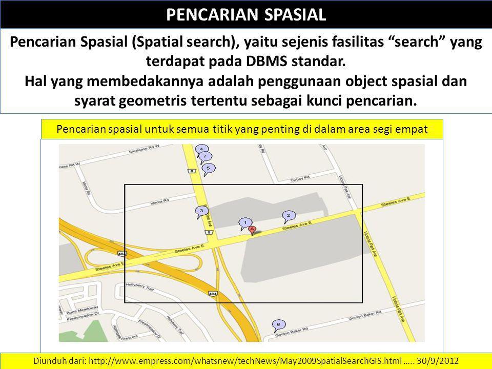 """PENCARIAN SPASIAL Pencarian Spasial (Spatial search), yaitu sejenis fasilitas """"search"""" yang terdapat pada DBMS standar. Hal yang membedakannya adalah"""