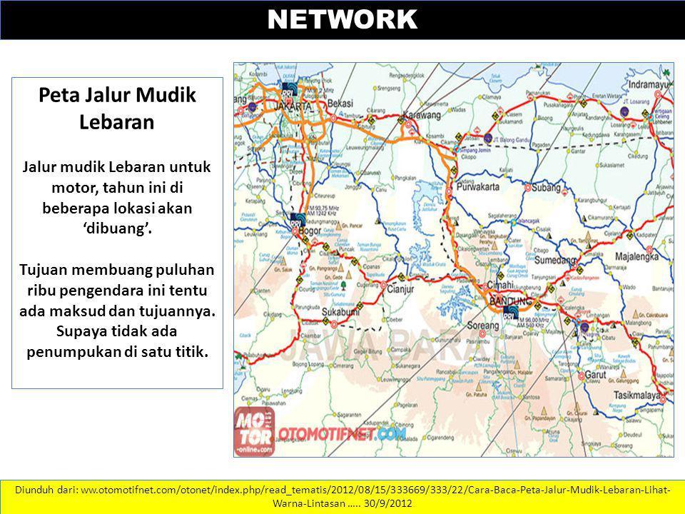 Peta Jalur Mudik Lebaran Jalur mudik Lebaran untuk motor, tahun ini di beberapa lokasi akan 'dibuang'. Tujuan membuang puluhan ribu pengendara ini ten