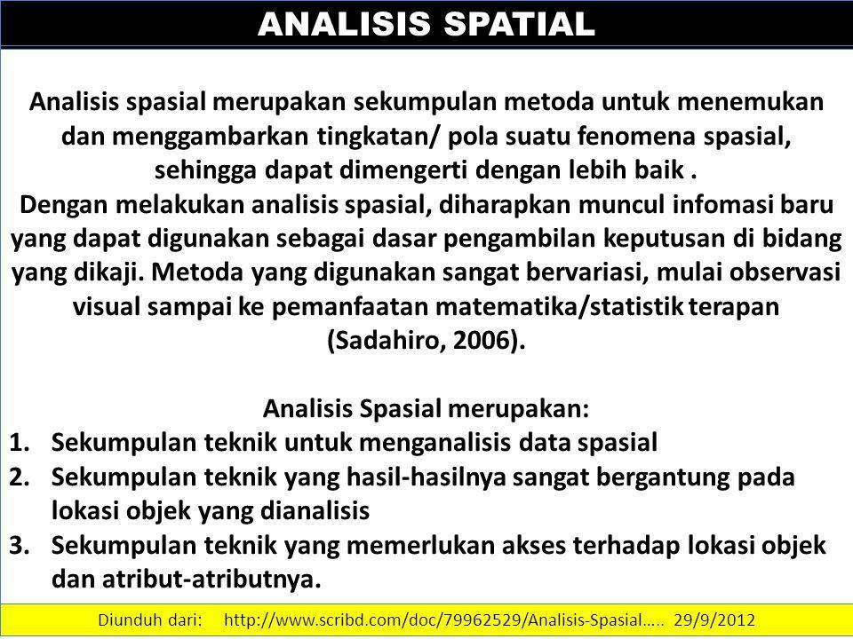 ANALISIS SPATIAL Analisis spasial merupakan sekumpulan metoda untuk menemukan dan menggambarkan tingkatan/ pola suatu fenomena spasial, sehingga dapat