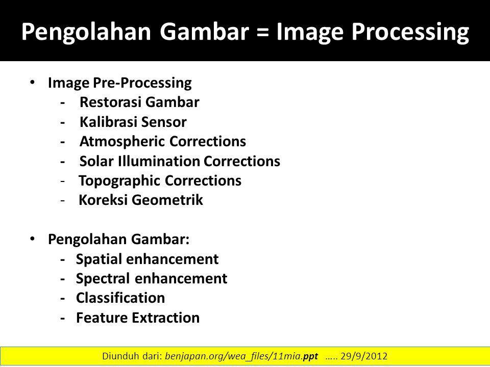 Pengolahan Gambar = Image Processing Image Pre-Processing - Restorasi Gambar - Kalibrasi Sensor - Atmospheric Corrections - Solar Illumination Correct
