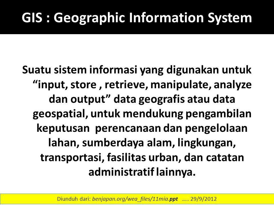"""GIS : Geographic Information System Suatu sistem informasi yang digunakan untuk """"input, store, retrieve, manipulate, analyze dan output"""" data geografi"""