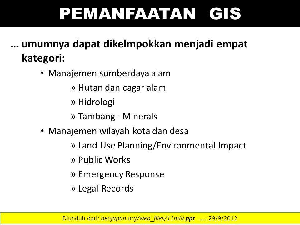 … umumnya dapat dikelmpokkan menjadi empat kategori: Manajemen sumberdaya alam » Hutan dan cagar alam » Hidrologi » Tambang - Minerals Manajemen wilay