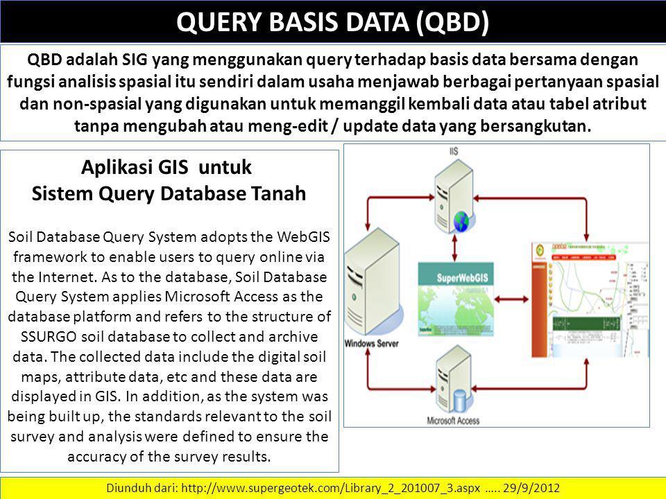 QUERY BASIS DATA (QBD) QBD adalah SIG yang menggunakan query terhadap basis data bersama dengan fungsi analisis spasial itu sendiri dalam usaha menjaw