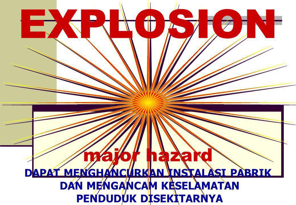 EXPLOSION major hazard DAPAT MENGHANCURKAN INSTALASI PABRIK DAN MENGANCAM KESELAMATAN PENDUDUK DISEKITARNYA