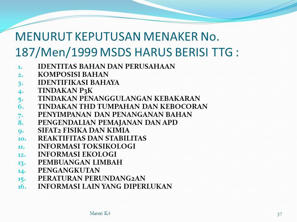 MENURUT KEPUTUSAN MENAKER No. 187/Men/1999 MSDS HARUS BERISI TTG : 1. IDENTITAS BAHAN DAN PERUSAHAAN 2. KOMPOSISI BAHAN 3. IDENTIFIKASI BAHAYA 4. TIND