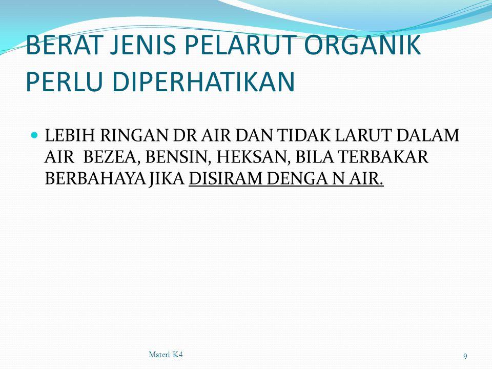 BERAT JENIS PELARUT ORGANIK PERLU DIPERHATIKAN LEBIH RINGAN DR AIR DAN TIDAK LARUT DALAM AIR BEZEA, BENSIN, HEKSAN, BILA TERBAKAR BERBAHAYA JIKA DISIR