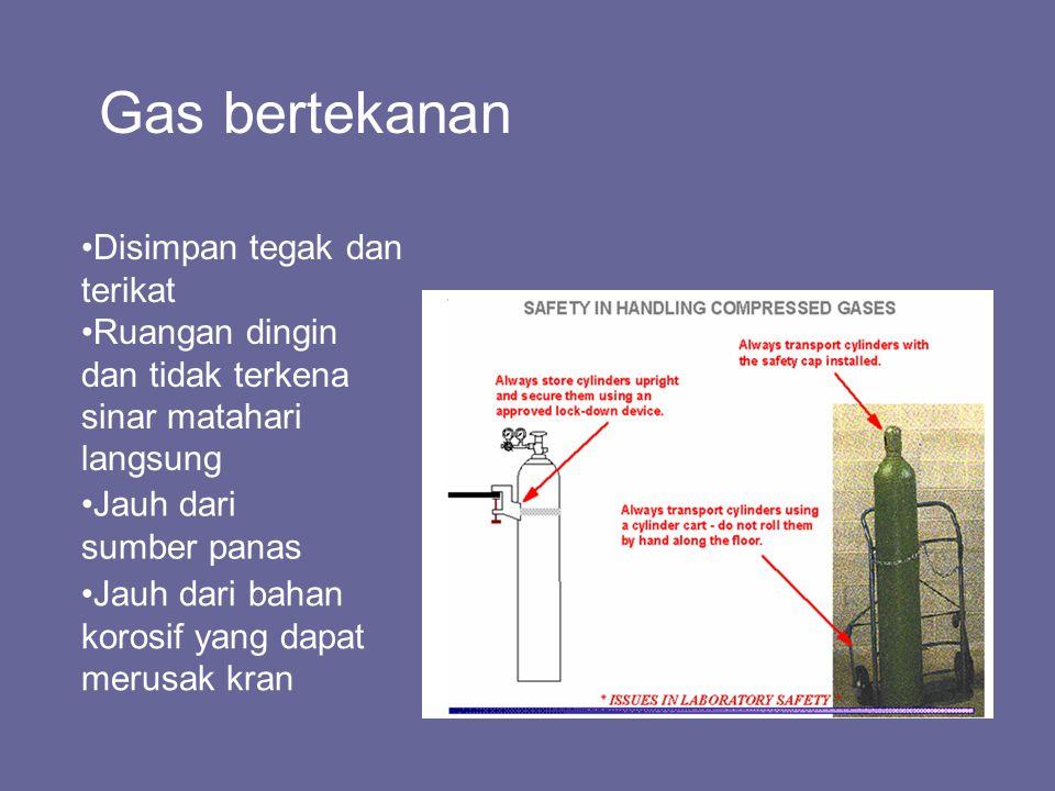 Gas bertekanan Disimpan tegak dan terikat Ruangan dingin dan tidak terkena sinar matahari langsung Jauh dari sumber panas Jauh dari bahan korosif yang