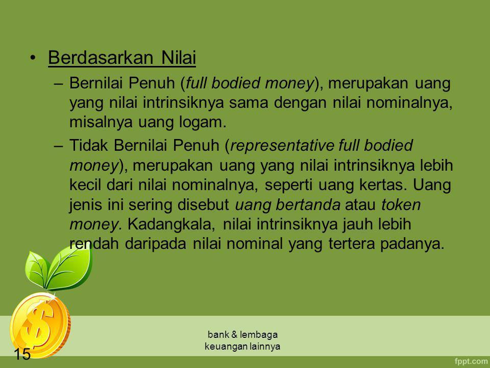 bank & lembaga keuangan lainnya 15 Berdasarkan Nilai –Bernilai Penuh (full bodied money), merupakan uang yang nilai intrinsiknya sama dengan nilai nom