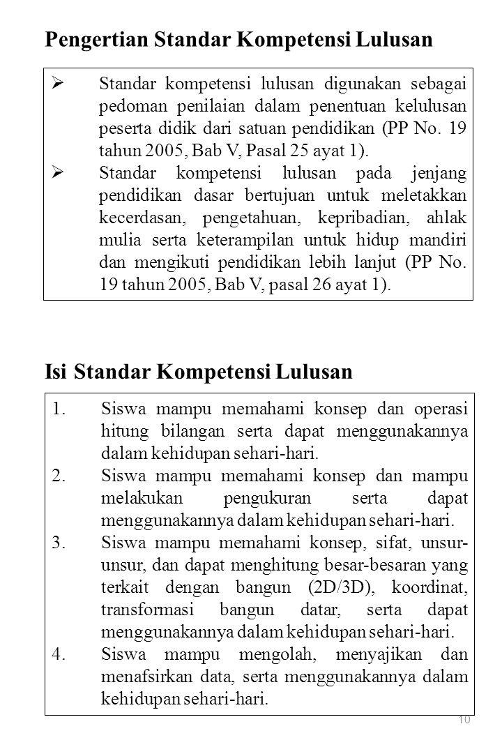 10  Standar kompetensi lulusan digunakan sebagai pedoman penilaian dalam penentuan kelulusan peserta didik dari satuan pendidikan (PP No. 19 tahun 20