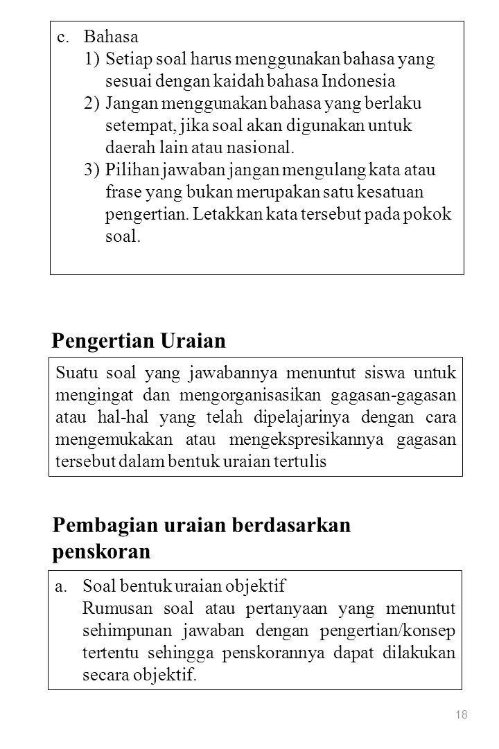 18 c.Bahasa 1)Setiap soal harus menggunakan bahasa yang sesuai dengan kaidah bahasa Indonesia 2)Jangan menggunakan bahasa yang berlaku setempat, jika