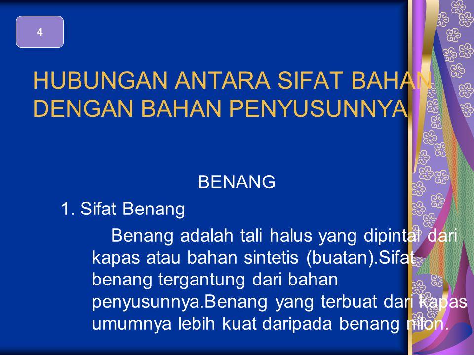 HUBUNGAN ANTARA SIFAT BAHAN DENGAN BAHAN PENYUSUNNYA BENANG 1.