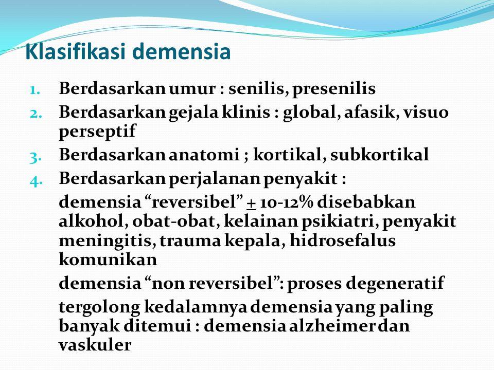 Definisi Demensia Suatu kondisi klinis yang ditandai oleh kemerosotan daya ingat, intelektualitas dan emosional. Sehingga mengakibatkan ketidakmampuan