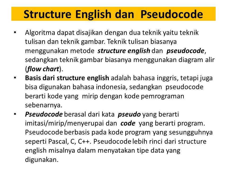 Structure English dan Pseudocode Algoritma dapat disajikan dengan dua teknik yaitu teknik tulisan dan teknik gambar. Teknik tulisan biasanya menggunak