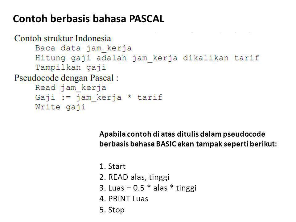 Apabila contoh di atas ditulis dalam pseudocode berbasis bahasa BASIC akan tampak seperti berikut: 1.