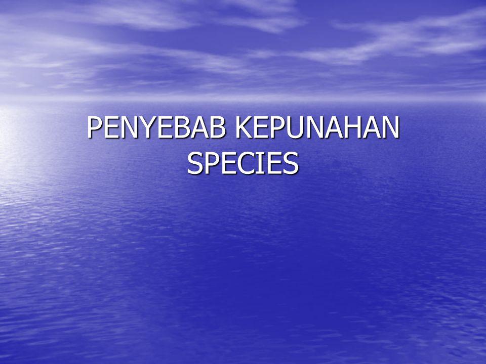 KARAKTER ORG YANG MUDAH PUNAH Faktor internal Faktor internal Spesies dengan penyebaran geografis yang sempit, beberapa spesies hanya terdapat pada satu atau sedikit tempat di dalam sebaran geografis yang sempit.
