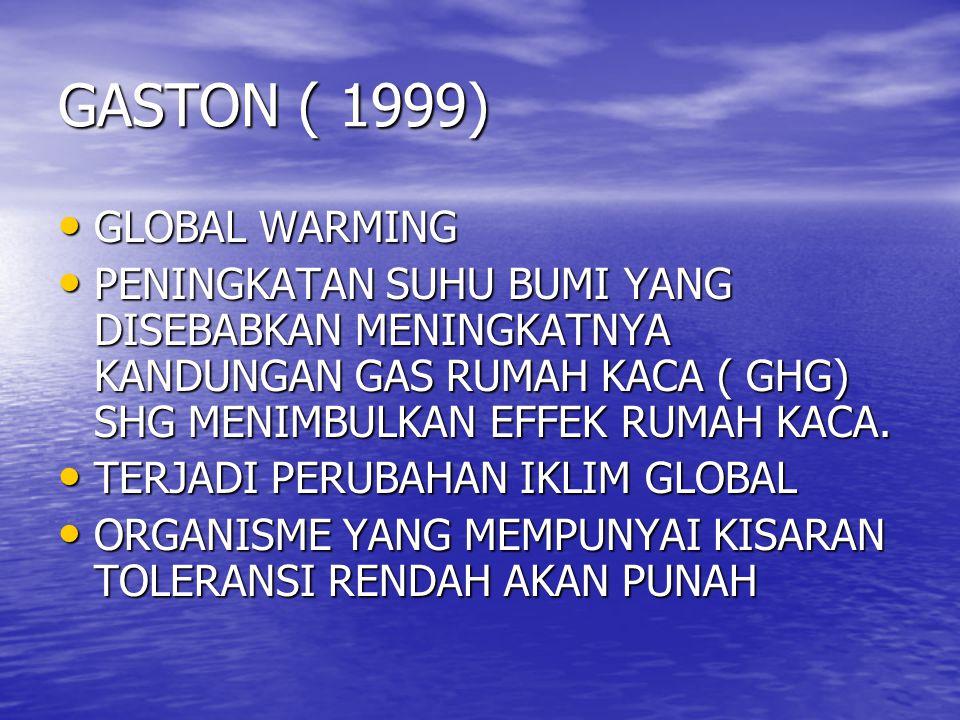 GASTON ( 1999) GLOBAL WARMING GLOBAL WARMING PENINGKATAN SUHU BUMI YANG DISEBABKAN MENINGKATNYA KANDUNGAN GAS RUMAH KACA ( GHG) SHG MENIMBULKAN EFFEK