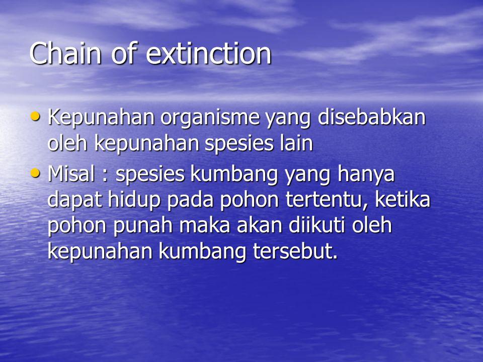 Chain of extinction Kepunahan organisme yang disebabkan oleh kepunahan spesies lain Kepunahan organisme yang disebabkan oleh kepunahan spesies lain Mi