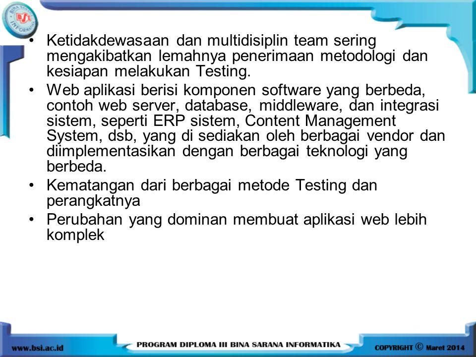 Ketidakdewasaan dan multidisiplin team sering mengakibatkan lemahnya penerimaan metodologi dan kesiapan melakukan Testing. Web aplikasi berisi kompone
