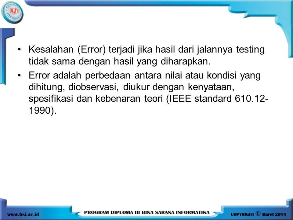Kesalahan (Error) terjadi jika hasil dari jalannya testing tidak sama dengan hasil yang diharapkan. Error adalah perbedaan antara nilai atau kondisi y