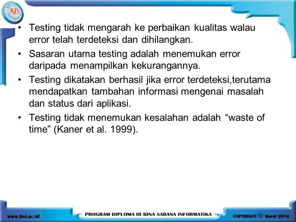 Testing tidak mengarah ke perbaikan kualitas walau error telah terdeteksi dan dihilangkan. Sasaran utama testing adalah menemukan error daripada menam