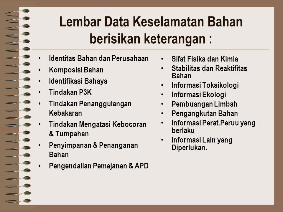 Lembar Data Keselamatan Bahan berisikan keterangan : Identitas Bahan dan Perusahaan Komposisi Bahan Identifikasi Bahaya Tindakan P3K Tindakan Penanggu