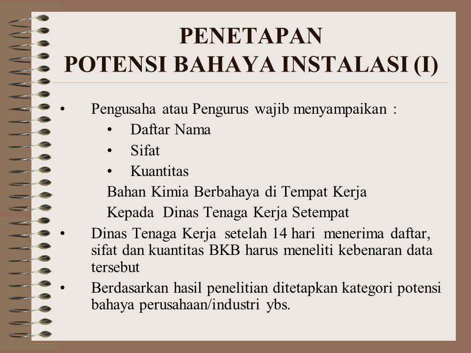 PENETAPAN POTENSI BAHAYA INSTALASI (II) POTENSI BAHAYA terdiri dari : –Bahaya Besar –Bahaya Menengah KATEGORI POTENSI BAHAYA berdasarkan : –Nama –Kriteria –Nilai Ambang Kuantitas (NAK)