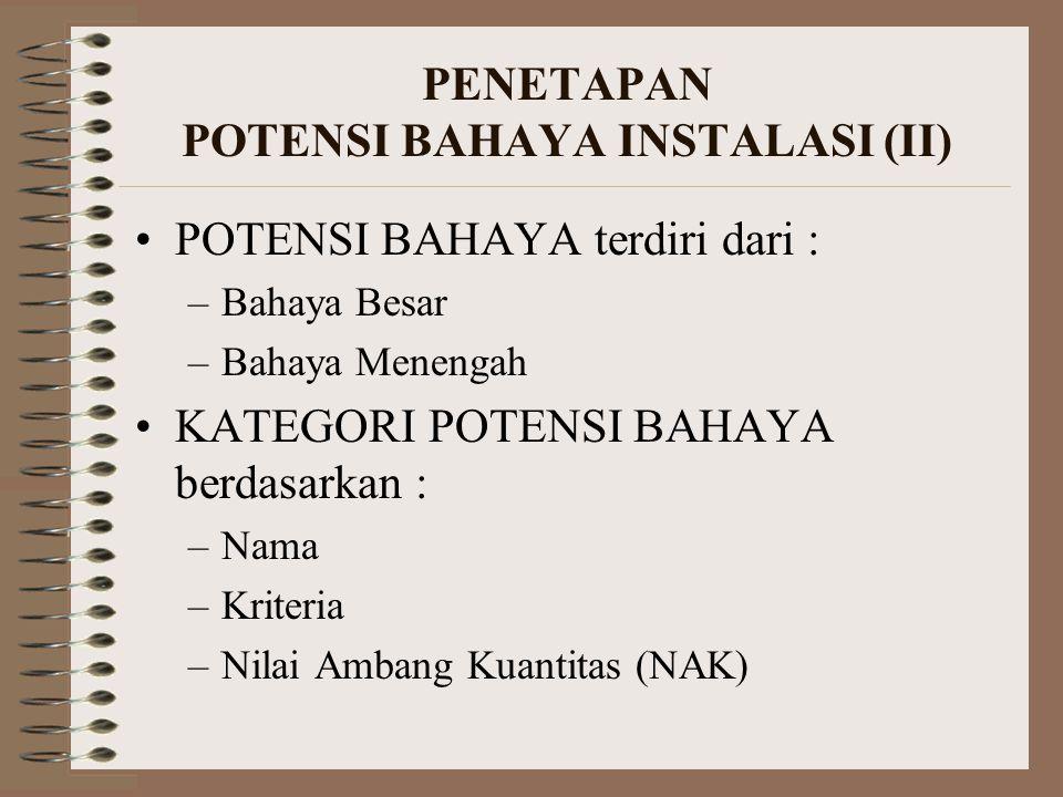 PENETAPAN POTENSI BAHAYA INSTALASI (II) POTENSI BAHAYA terdiri dari : –Bahaya Besar –Bahaya Menengah KATEGORI POTENSI BAHAYA berdasarkan : –Nama –Krit
