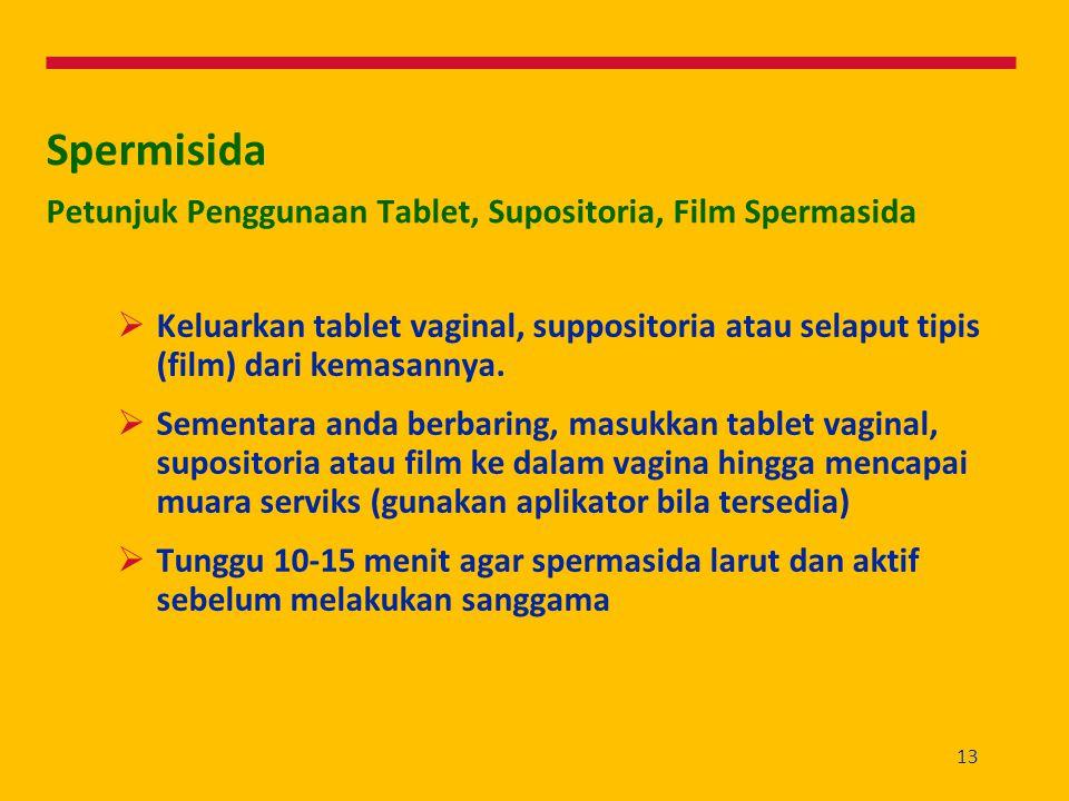 13 Spermisida Petunjuk Penggunaan Tablet, Supositoria, Film Spermasida  Keluarkan tablet vaginal, suppositoria atau selaput tipis (film) dari kemasan