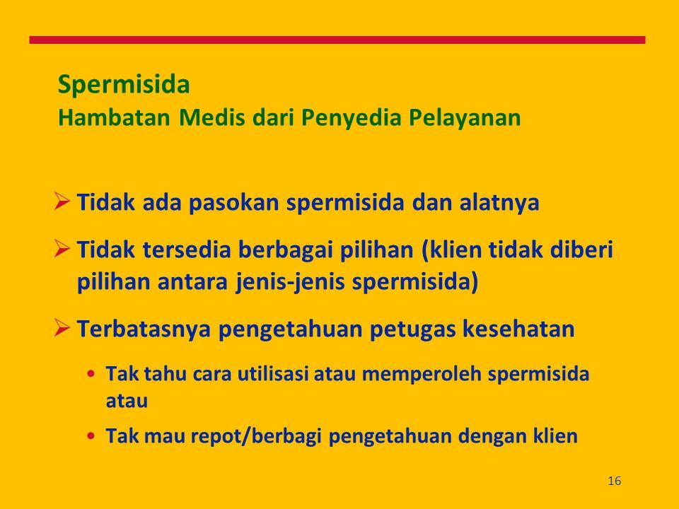 16 Spermisida Hambatan Medis dari Penyedia Pelayanan  Tidak ada pasokan spermisida dan alatnya  Tidak tersedia berbagai pilihan (klien tidak diberi