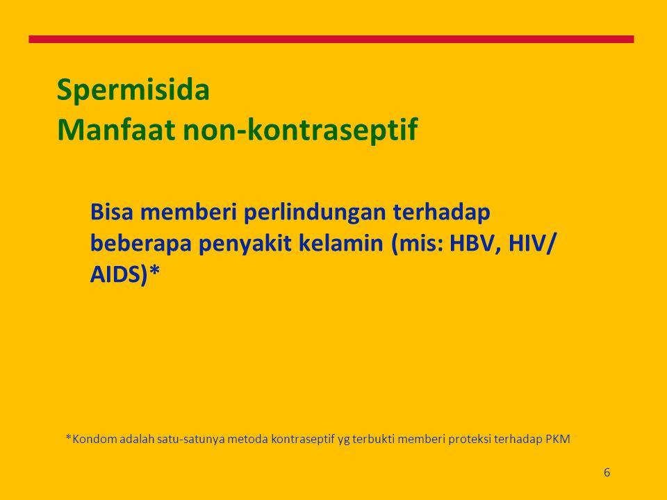 6 Spermisida Manfaat non-kontraseptif Bisa memberi perlindungan terhadap beberapa penyakit kelamin (mis: HBV, HIV/ AIDS)* *Kondom adalah satu-satunya