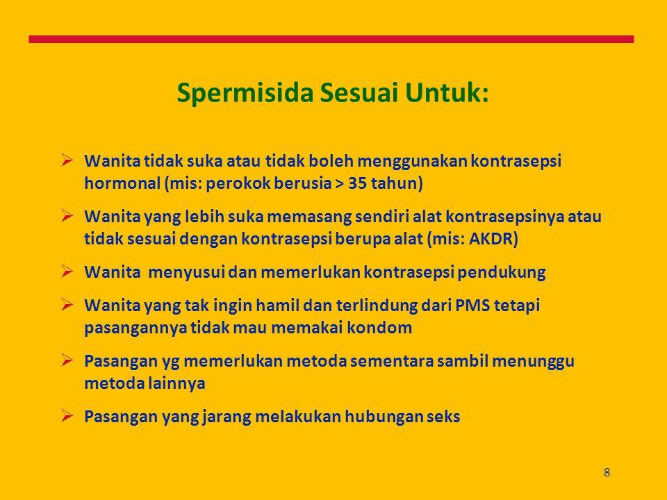 8 Spermisida Sesuai Untuk:  Wanita tidak suka atau tidak boleh menggunakan kontrasepsi hormonal (mis: perokok berusia > 35 tahun)  Wanita yang lebih