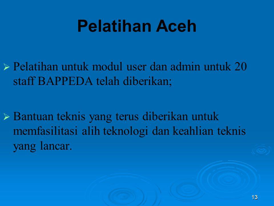 13 Pelatihan Aceh  Pelatihan untuk modul user dan admin untuk 20 staff BAPPEDA telah diberikan;  Bantuan teknis yang terus diberikan untuk memfasili