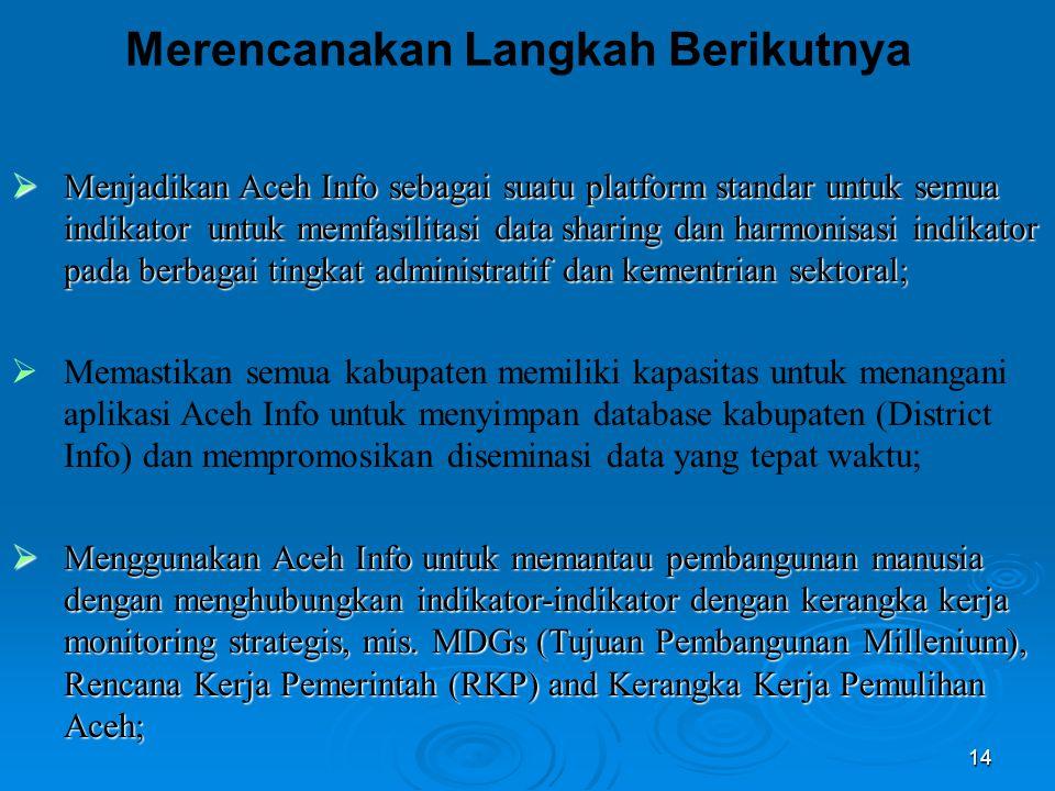 14  Menjadikan Aceh Info sebagai suatu platform standar untuk semua indikator untuk memfasilitasi data sharing dan harmonisasi indikator pada berbagai tingkat administratif dan kementrian sektoral;  Memastikan semua kabupaten memiliki kapasitas untuk menangani aplikasi Aceh Info untuk menyimpan database kabupaten (District Info) dan mempromosikan diseminasi data yang tepat waktu;  Menggunakan Aceh Info untuk memantau pembangunan manusia dengan menghubungkan indikator-indikator dengan kerangka kerja monitoring strategis, mis.