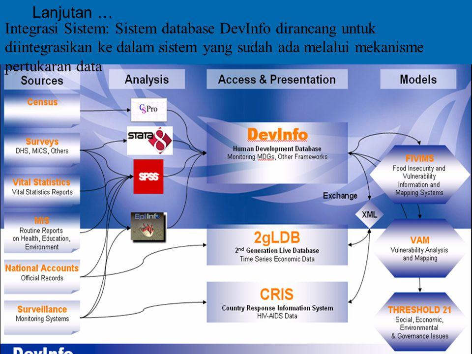 7 Integrasi Sistem: Sistem database DevInfo dirancang untuk diintegrasikan ke dalam sistem yang sudah ada melalui mekanisme pertukaran data Lanjutan …