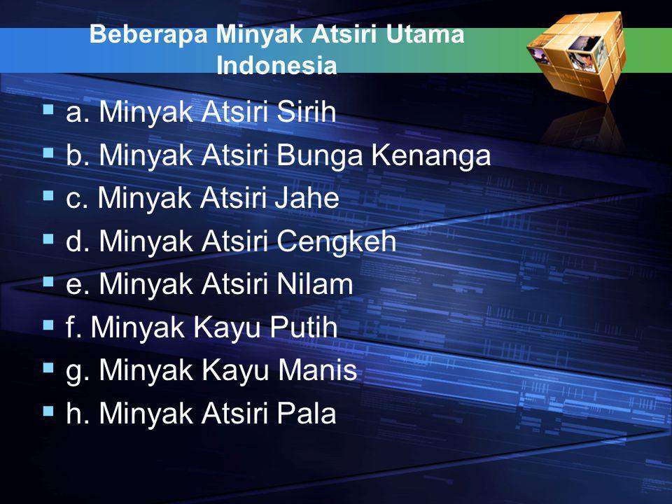 Beberapa Minyak Atsiri Utama Indonesia  a. Minyak Atsiri Sirih  b.