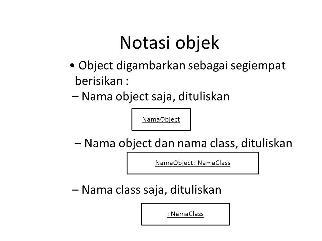 Notasi objek Object digambarkan sebagai segiempat berisikan : – Nama object saja, dituliskan – Nama object dan nama class, dituliskan – Nama class saj