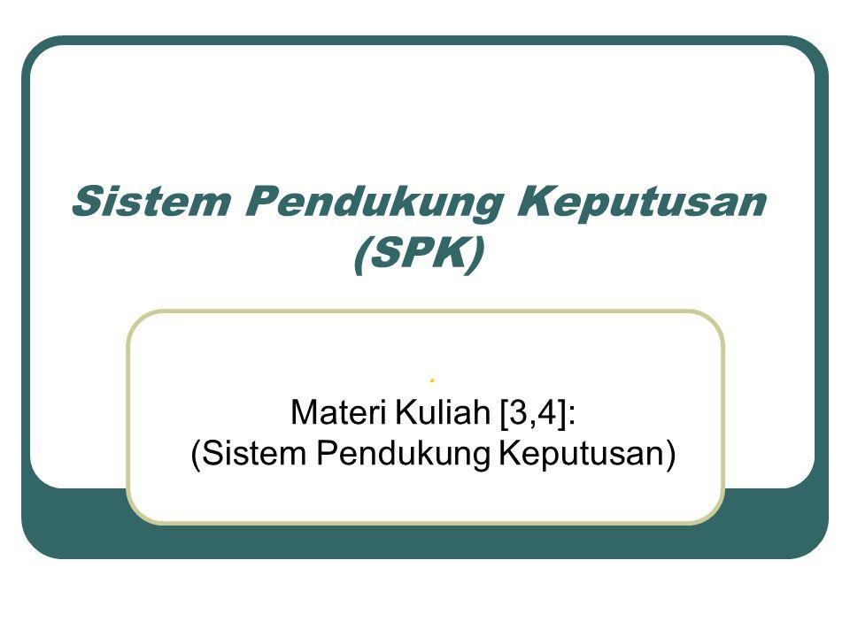 Sistem Pendukung Keputusan (SPK). Materi Kuliah [3,4]: (Sistem Pendukung Keputusan)