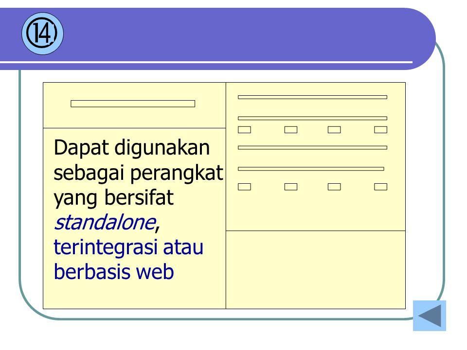 Dapat digunakan sebagai perangkat yang bersifat standalone, terintegrasi atau berbasis web  4