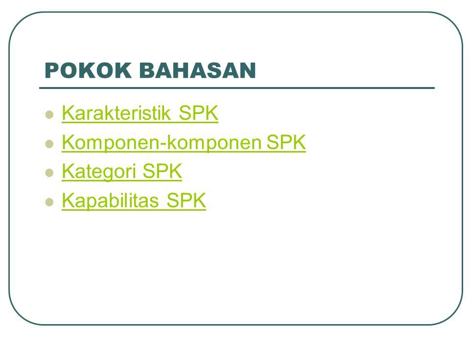 POKOK BAHASAN Karakteristik SPK Komponen-komponen SPK Kategori SPK Kapabilitas SPK