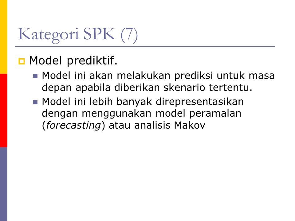 Kategori SPK (7)  Model prediktif. Model ini akan melakukan prediksi untuk masa depan apabila diberikan skenario tertentu. Model ini lebih banyak dir