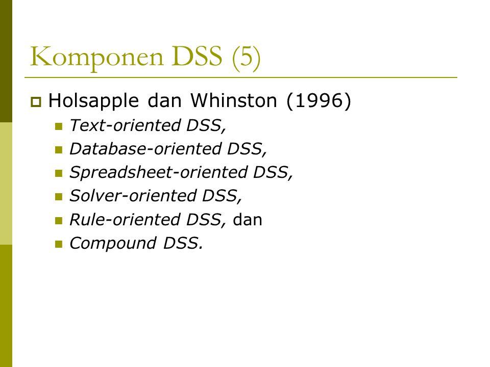 Komponen DSS (5)  Holsapple dan Whinston (1996) Text-oriented DSS, Database-oriented DSS, Spreadsheet-oriented DSS, Solver-oriented DSS, Rule-oriente