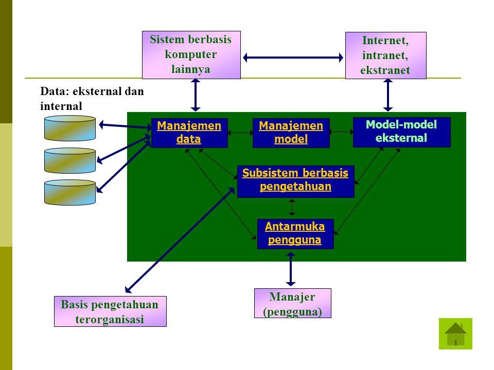 Sistem berbasis komputer lainnya Internet, intranet, ekstranet Manajemen data Manajemen model Model-model eksternal Subsistem berbasis pengetahuan Ant