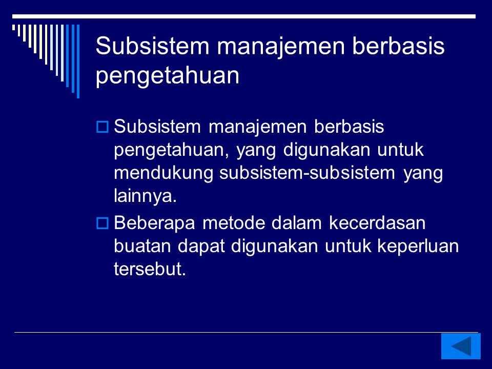 Subsistem manajemen berbasis pengetahuan, yang digunakan untuk mendukung subsistem-subsistem yang lainnya.  Beberapa metode dalam kecerdasan buatan