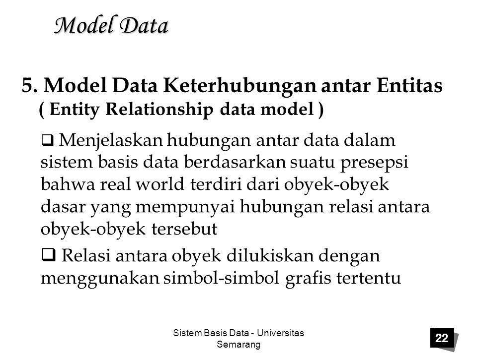 Sistem Basis Data - Universitas Semarang 22 Model Data  Menjelaskan hubungan antar data dalam sistem basis data berdasarkan suatu presepsi bahwa real