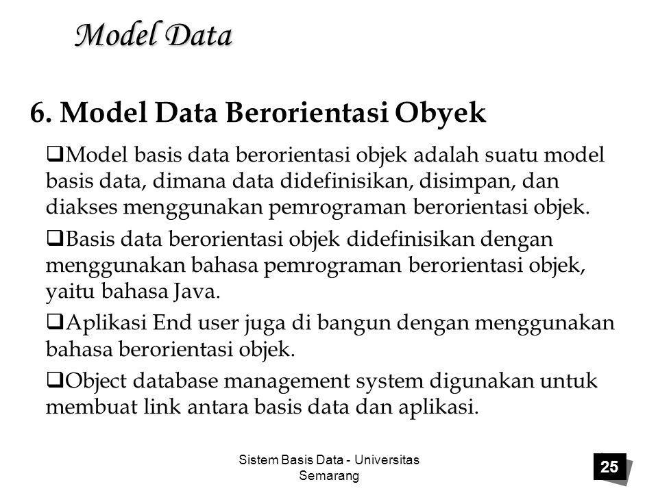 Sistem Basis Data - Universitas Semarang 25 Model Data  Model basis data berorientasi objek adalah suatu model basis data, dimana data didefinisikan,